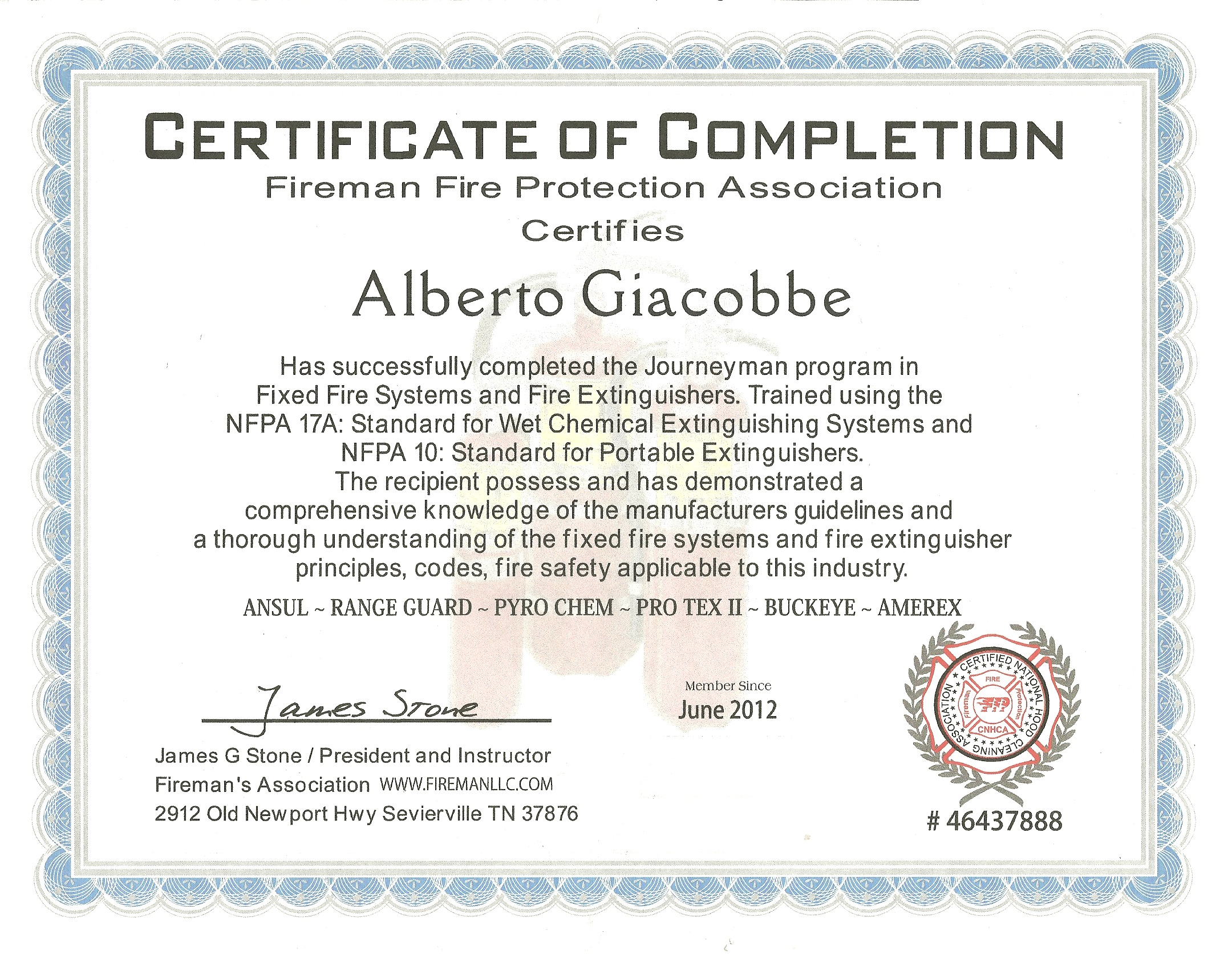 FIXED FIRE SYSTEMS AND FIRE EXTINGUISHERS CERTIFICATED